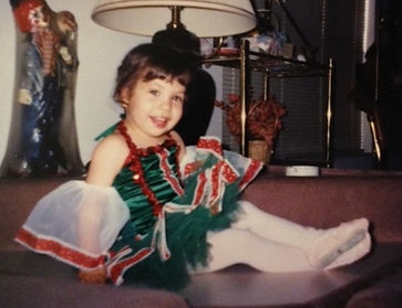A young Mercedes Lozano in her first ballet costume, later to be a Trienawear ballerina ambassador