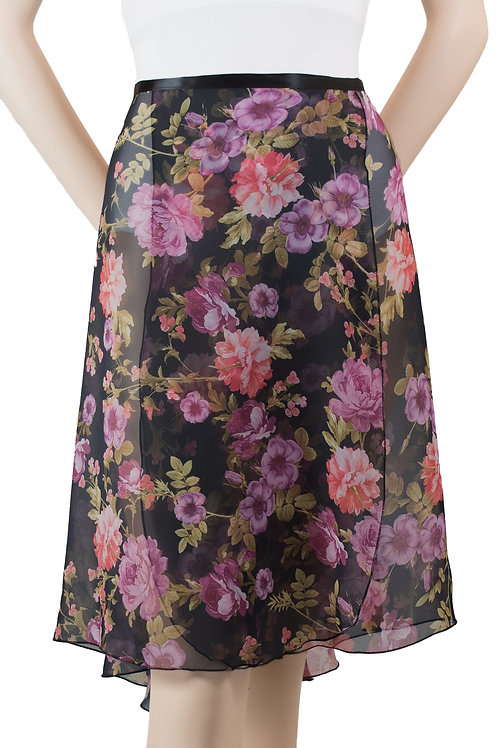 "Trienawear #872 Brio 23"" floral wrap ballet skirt - front"