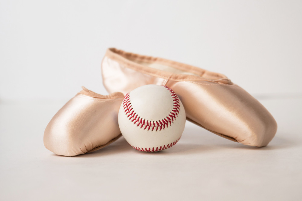 Baseball and Ballet Pointe Shoes