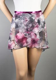 Trienawear Ballet Dance Hi Lo Wrap Skirt with satin ribbon waist tie, Style TR200FL, Front View, Floral Print #913 Toccata Plum
