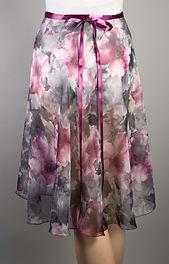 "Trienawear Ballet Dance 23"" Wrap Skirt with satin ribbon waist tie, Style TR200L-FL, Back View, Floral Print #913 Toccata Plum"