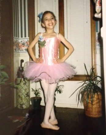 A young ballerina, Mercedes Lozano, who will become a beautiful, elegant, feminine Trienawear ballet ambassador