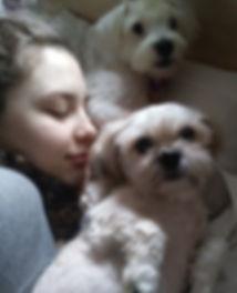 Beautiful, elegant, modern, feminine Trienawear ballerina ambassador, Natalie Jessie, cuddling with her beloved dogs