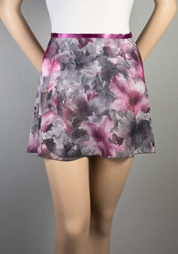 """Trienawear Ballet Dance 14"""" Wrap Skirt with satin ribbon waist tie, Style TR200S-FL, Front View, Floral Print #913 Toccata Plum"""