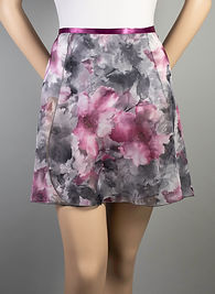 "Trienawear Ballet Dance 16"" Wrap Skirt with satin ribbon waist tie, Style TR216FL, Front View, Floral Print #913 Toccata Plum"