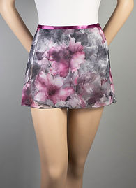 """Trienawear Ballet Dance 12"""" Wrap Skirt with satin ribbon waist tie, Style TR200S12-FL, Front View, Floral Print #913 Toccata Plum"""