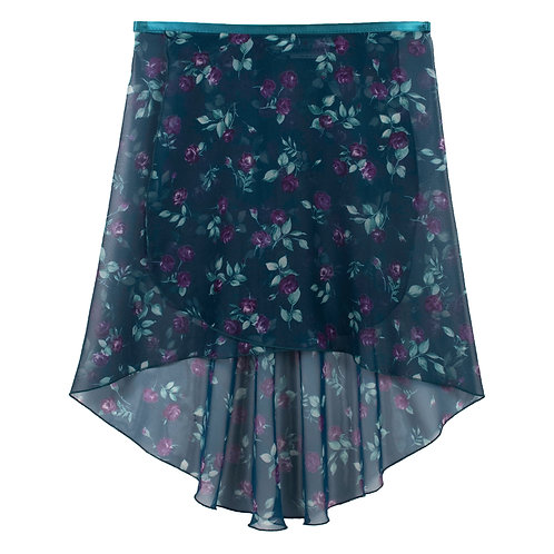 Trienawear Ballet Dance Skirt #917 Charming front view, hi lo wrap with satin ribbon tie
