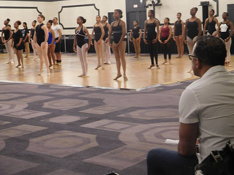 Beautiful Trienawear ballerina Sage Sarai participating in IABD Ballet Masterclass with Dance Theater of Harlem