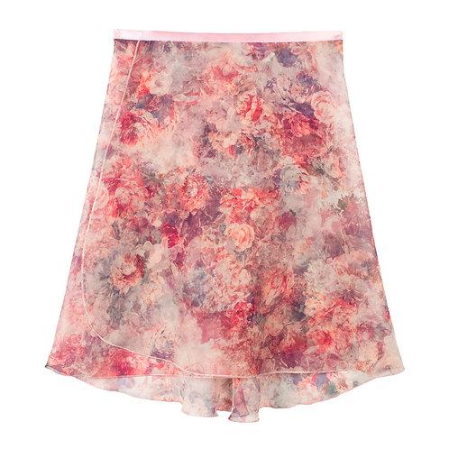 "Trienawear Ballet Dance Skirt #904 Sérénité Rose front view, 16"" wrap with satin ribbon tie"