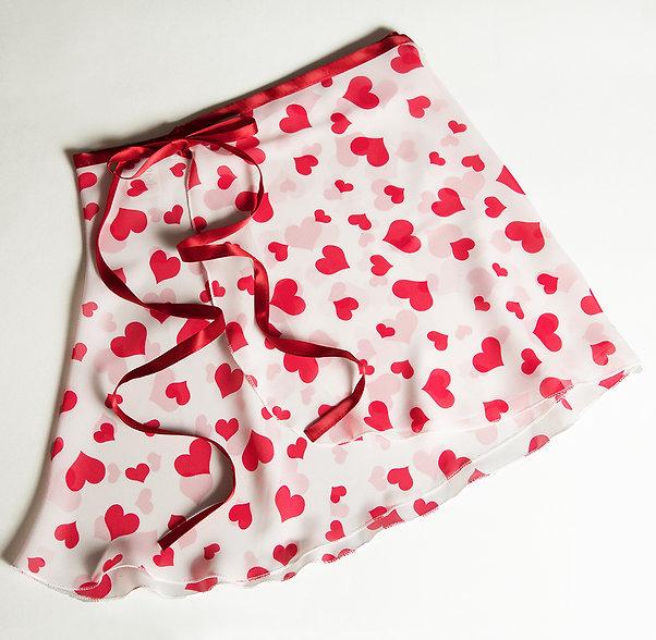"""#843 Hearts -  12"""" ballet dance wrap skirt"""