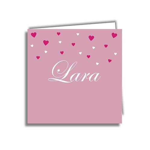 Kopie van Geboorte kaartje oud roze met hartjes 01