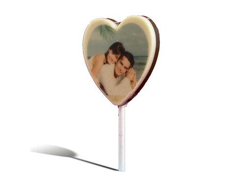 Chocolade lolly hart met foto