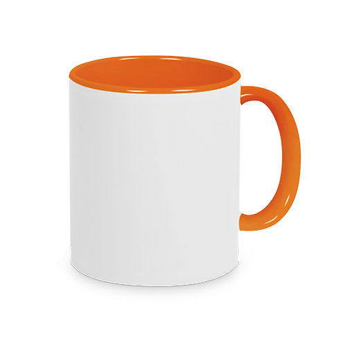 Keramiktasse Orange TWO TONE HANDLE inkl. Farbsublimation