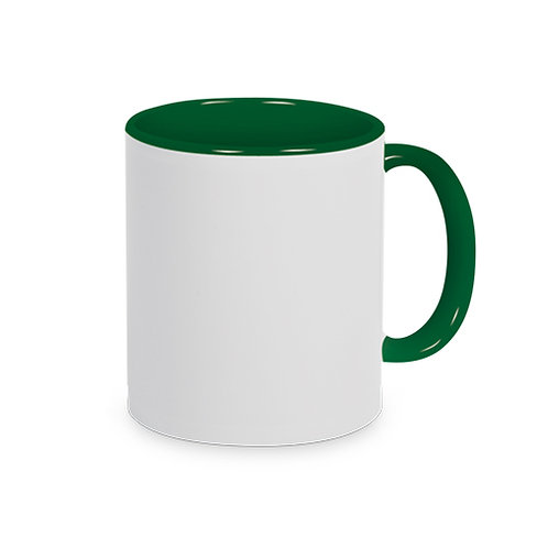 Keramiktasse Dunkelgrün TWO TONE HANDLE inkl. Farbsublimation