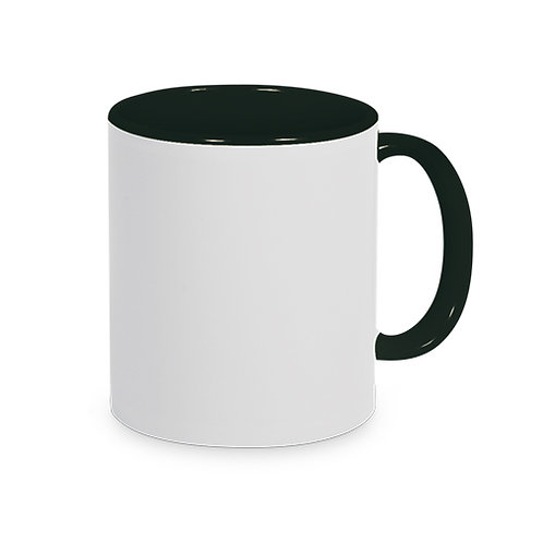 Keramiktasse Schwarz TWO TONE HANDLE inkl. Farbsublimation