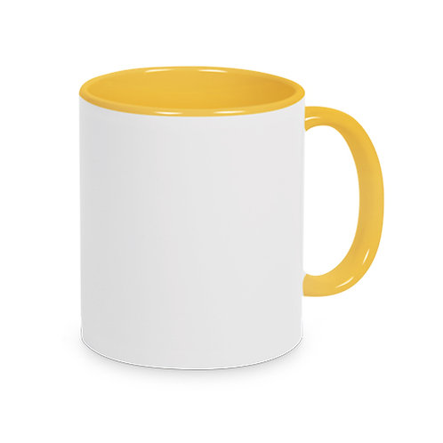 Keramiktasse Hellgelb TWO TONE HANDLE inkl. Farbsublimation