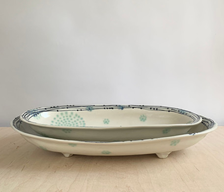 Oval Serving Boat, Nest Circle Dots, Sea Spray