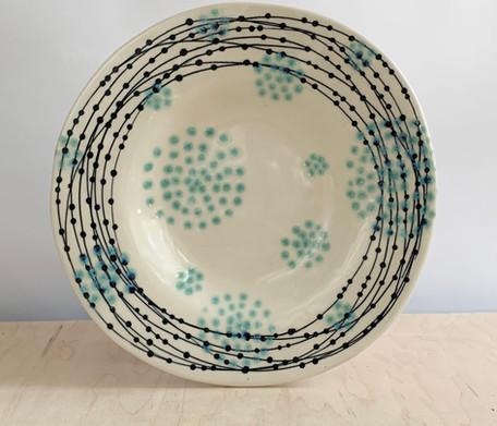 Round Serving Platter, Nest Circle Dots, Sea Spray