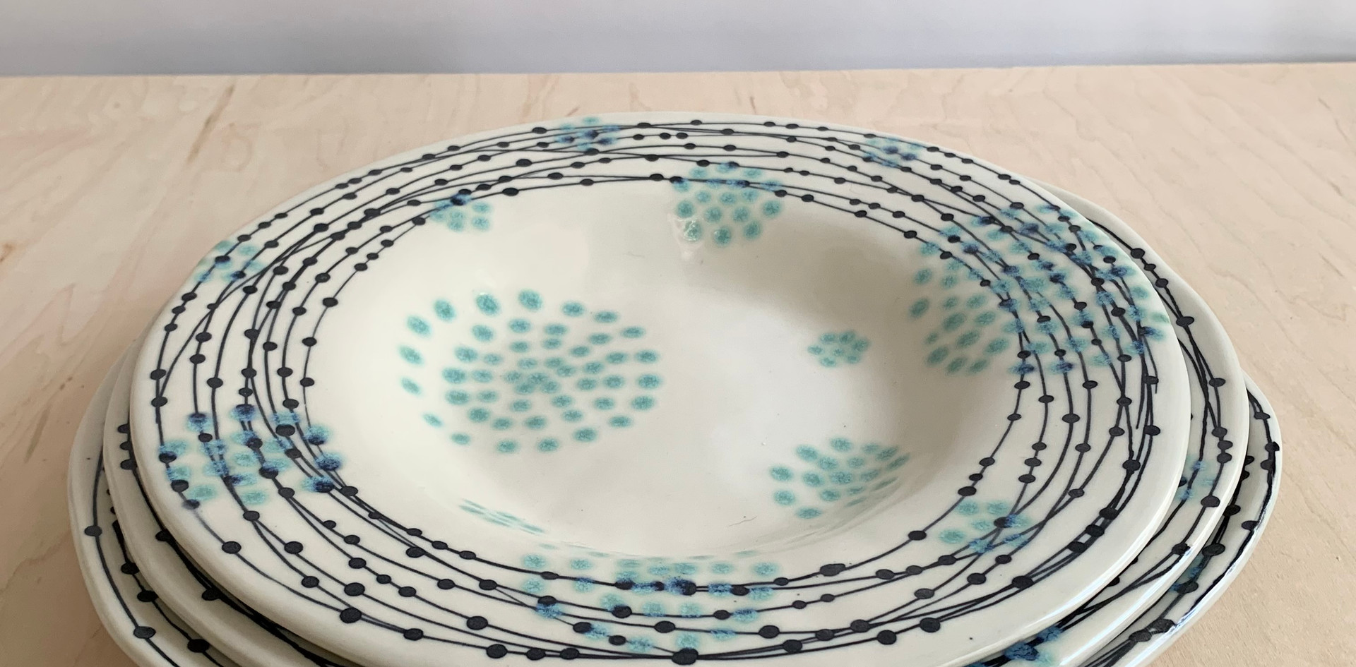 Round Serving Platter, Nest Circle Dots, Sea Spray