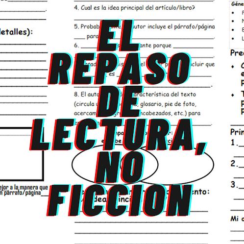 El repaso de lectura, NO FICCION, Grados 4 a 8