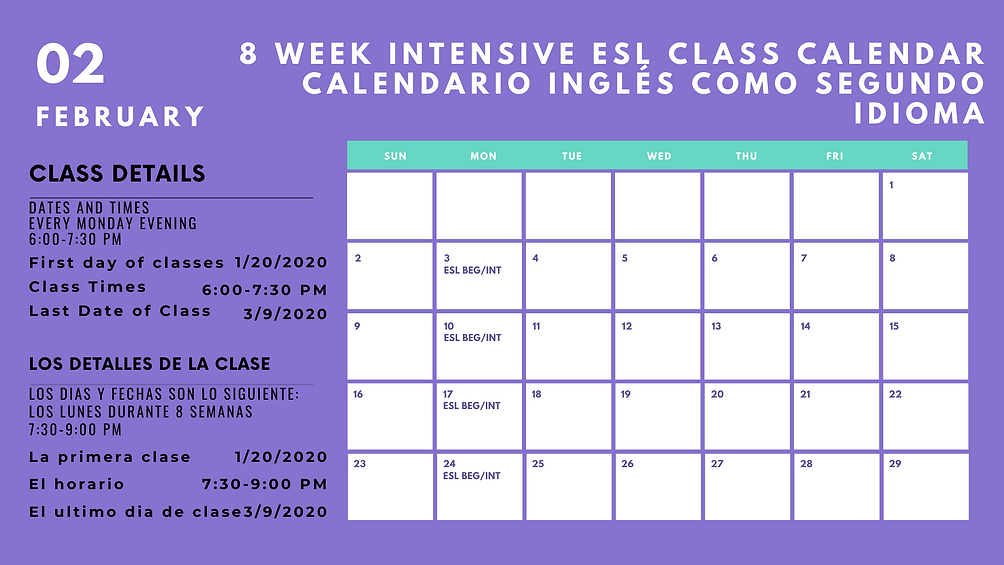 Turquoise & Purple Bold Classroom Calend