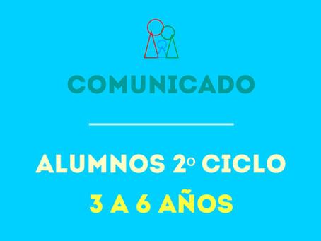 COMUNICADO 2º CICLO (3 a 6 años)