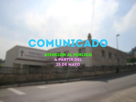 COMUNICADO: ABIERTO 25 DE MAYO