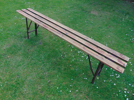 Folding Slatted Wooden Benches