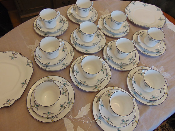 Blue & White Motif Patterned Tea Set