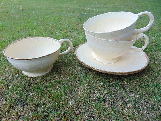 Oversized Cups and Saucer