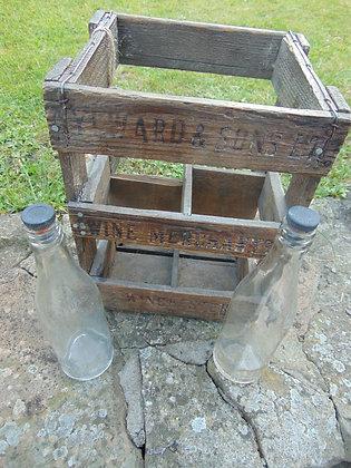 Wooden Bottle Crate with Vintage Bottles
