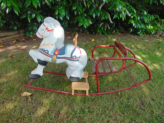 Metal Rocking Horse with Wooden Seat