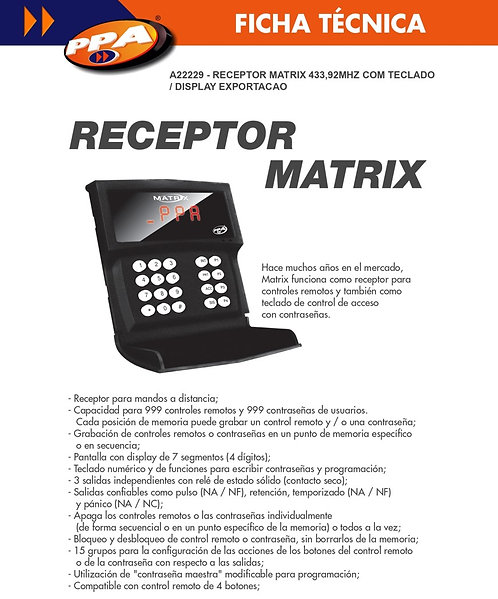 Receptor matrix con teclado hasta 999 controles