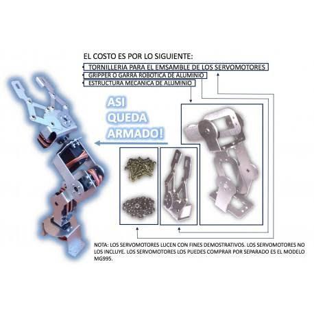 Estructura de aluminio par brazo robotico 5GDL