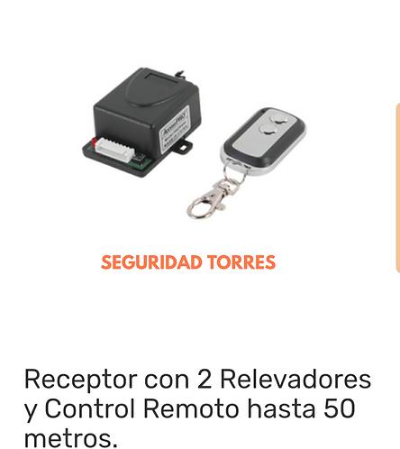 Receptor con 2 relevadores y control remoto hasta 50 metros
