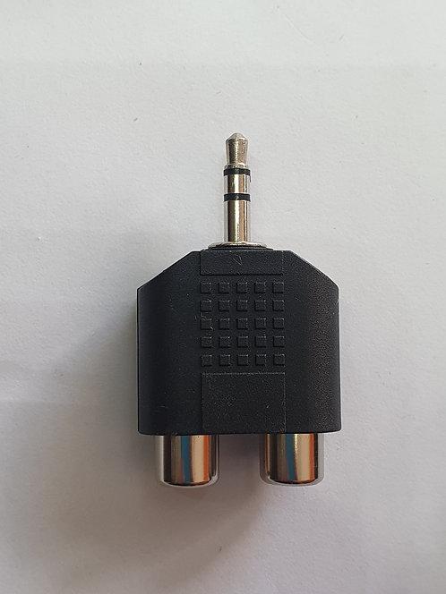 Adaptador plug stereo 3.5mm a 2 rca hembra AD-138