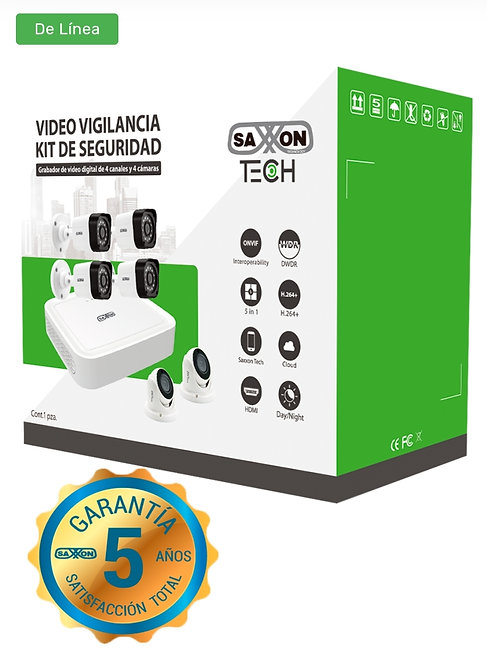 SAXXON TECH 8304XECCLKIT - Kit de DVR de 4 canales 1080p real / P2P / 4 Camaras