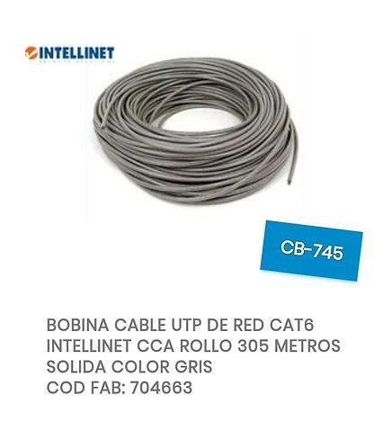 BOBINA CABLE UTP DE RED CAT6 INTELLINET CCA ROLLO 305 METROS SOLIDA COLOR GRIS