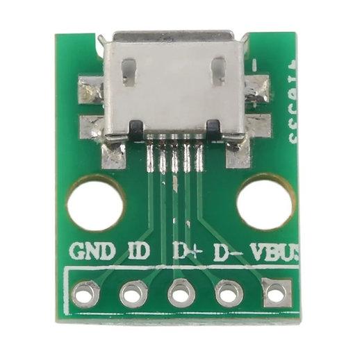 Adaptador micro usb tipo B DIP 2.54mm 5 pin