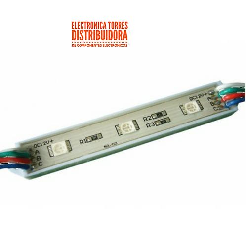 Modulo de 3 leds 5050 12v 75x12mm verde ( 6 piezas)