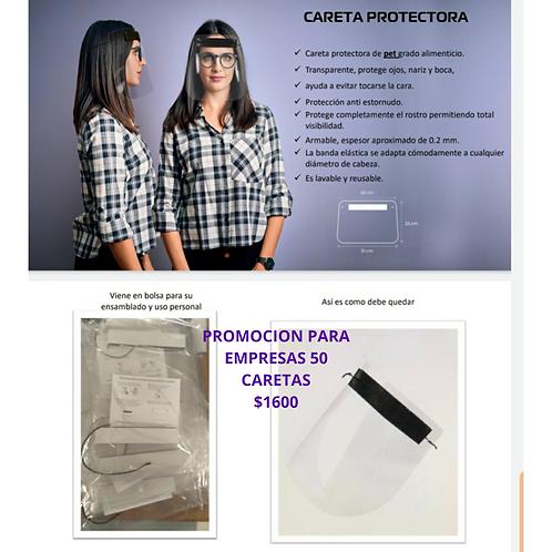 Kit careta protectora 50 piezas