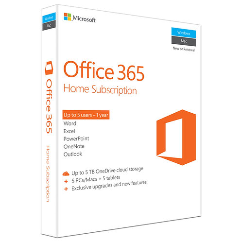 Microsoft Office 365 Home Premium 1 Yr Subscription (5 devices)