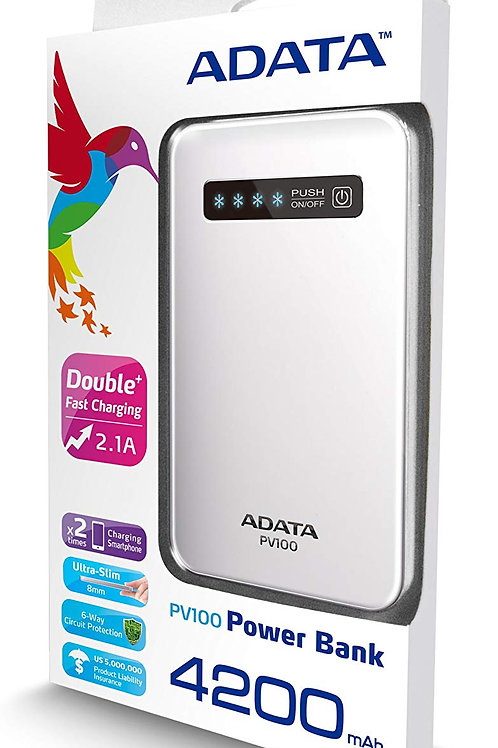 ADATA PV100 4200mAh 8mm POWER BANK-WHITE