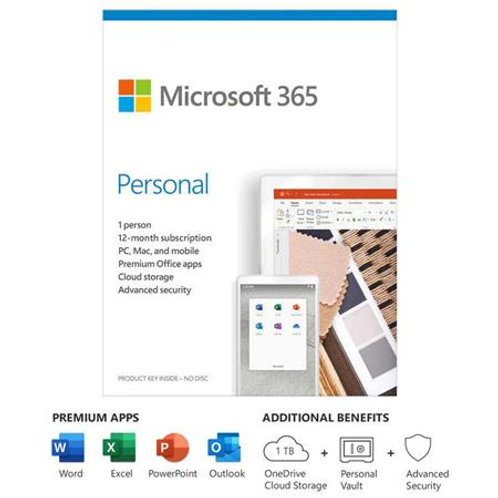 MICROSOFT 365 PERSONAL 1YR 1 USER PC/MAC/MOBILE APPS ENG QQ2-01024
