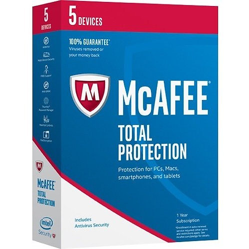 MCAFEE TOTAL PROTECTION 2017 MTP17ZST5RAA 5 USER WIN/MAC/IOS/ANDROID