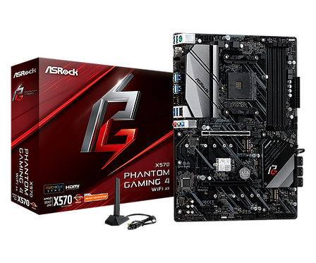 ASROCK X570 PHANTOM GAMING 4 WIFI AX AM4 AMD X570 SATA3 & USB3.2 ATX MB