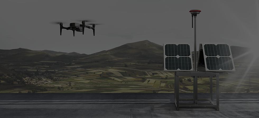 Aerial drone near solar power panel