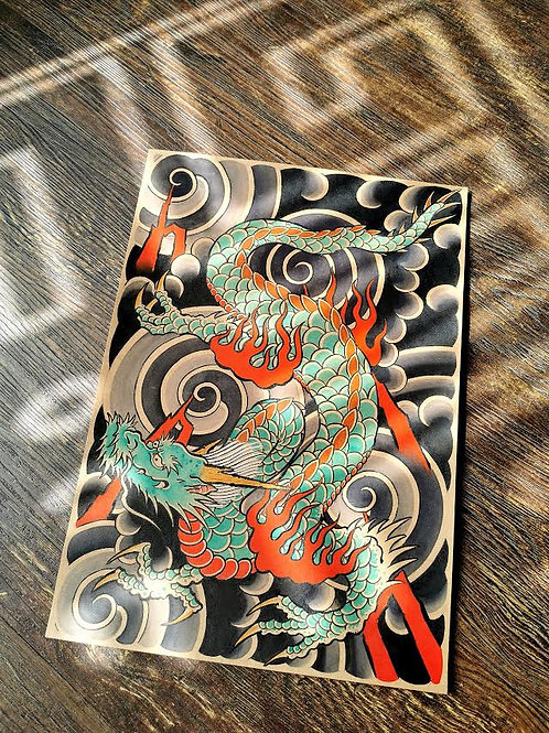 Original Japanese dragon Painting