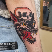Traditional Wolf And Skull