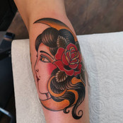 Traditional Girl Head and Moon